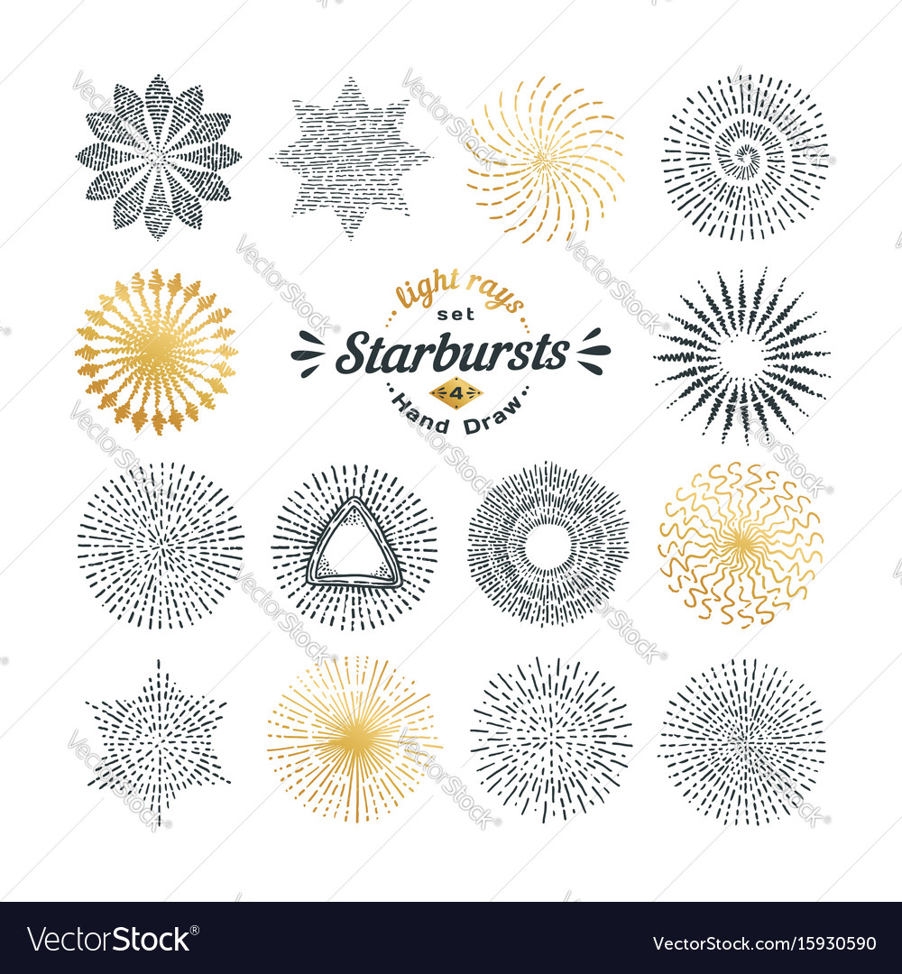 Set of handmade sunburst design elements