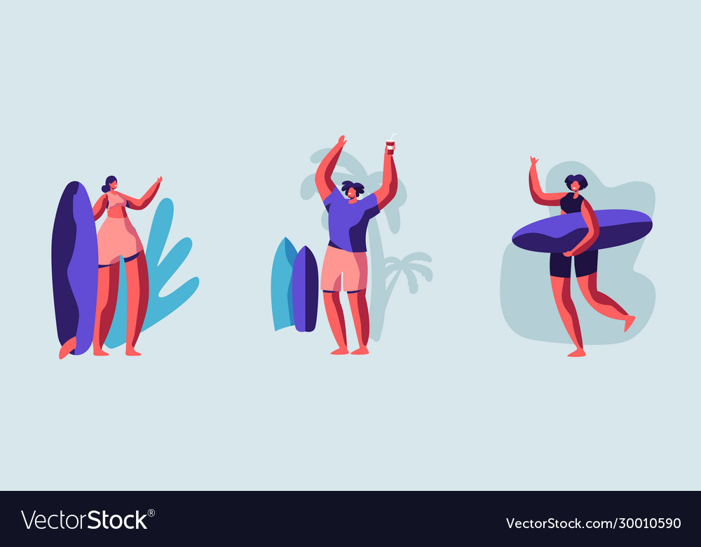 Set young surfers characters with surf boards