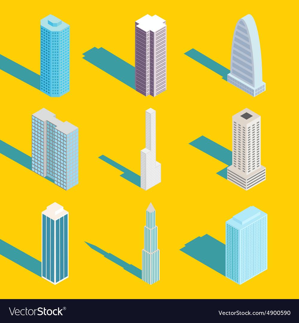 Skyscrapers isometric city buildings