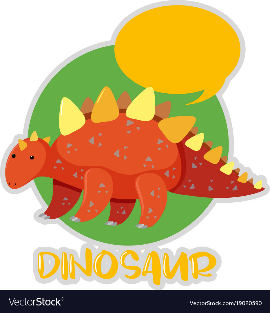 Sticker design with stegosaurus vector image
