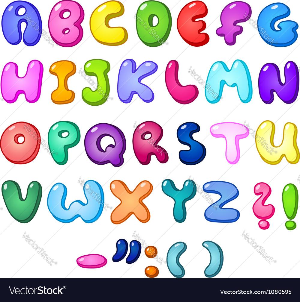 3d bubble alphabet vector image