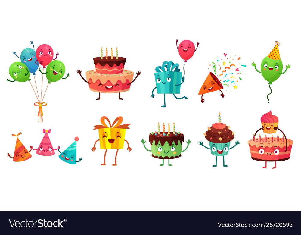 Cartoon birthday celebration set party balloons