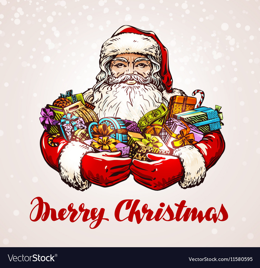 Christmas Santa Claus with gifts in hands vector image