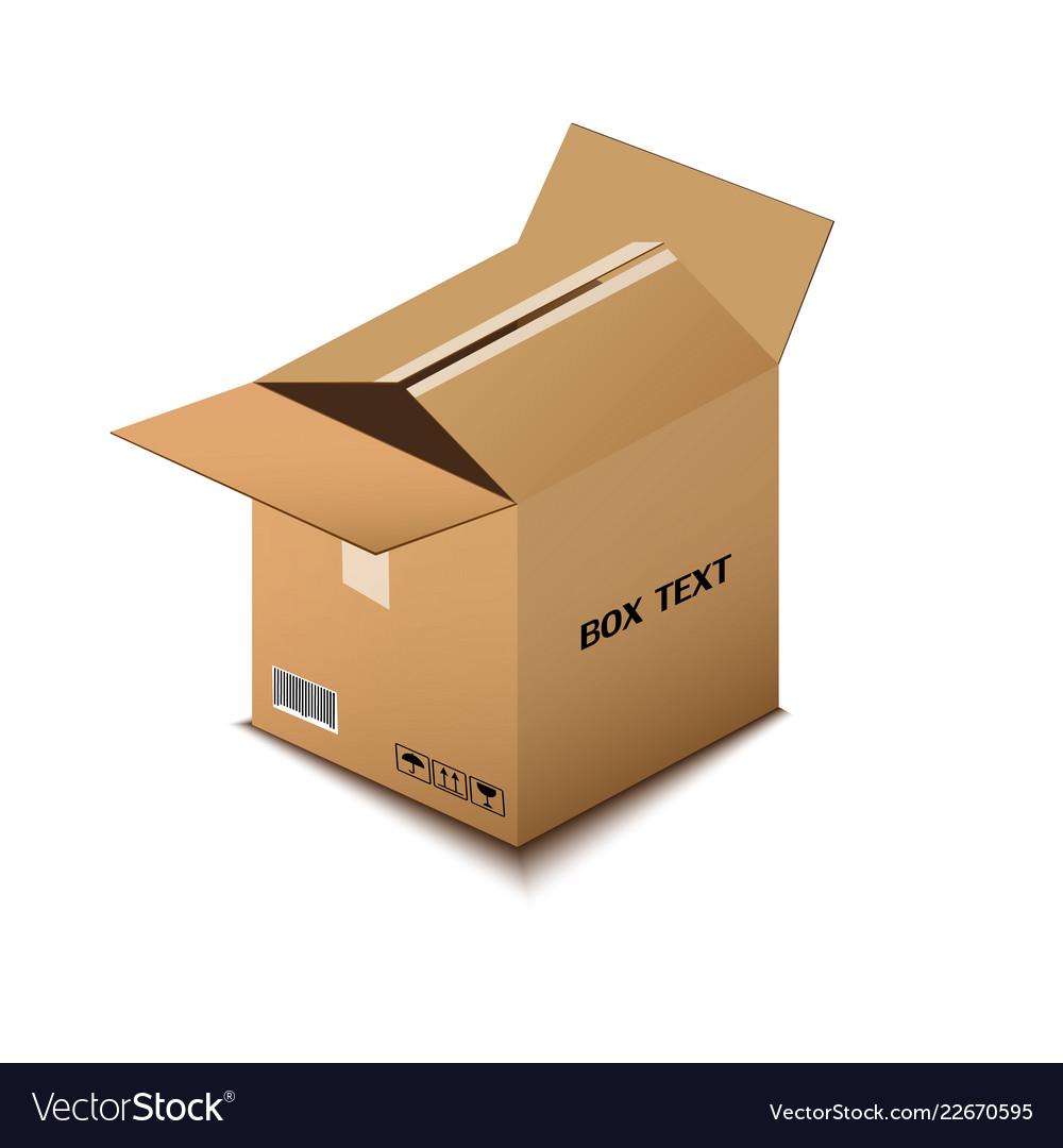 Corton box postal packing box on white