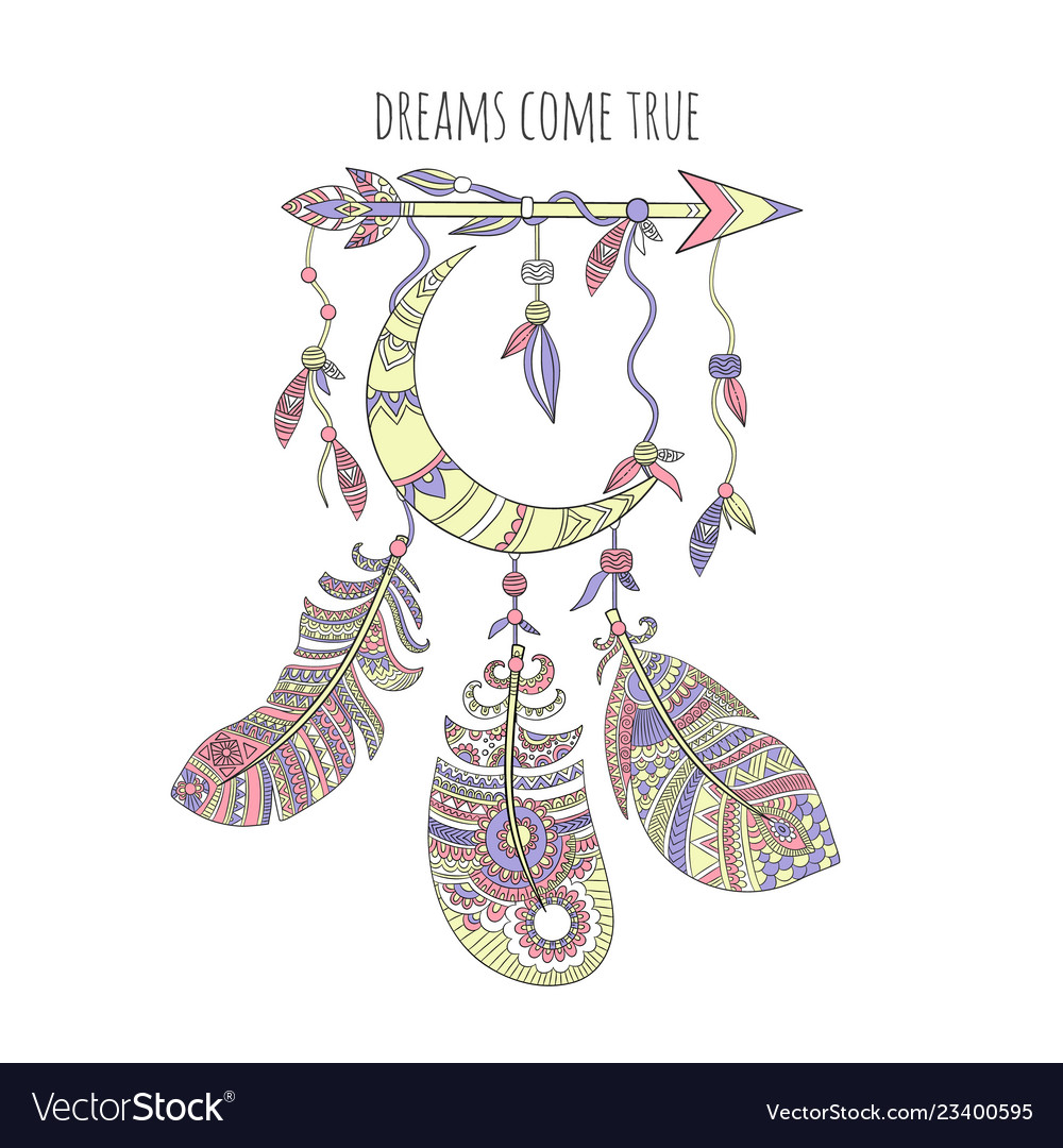 Dream catcher background ethnic tribal feathers
