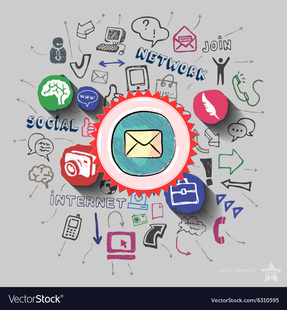 Envelope and collage with web icons background