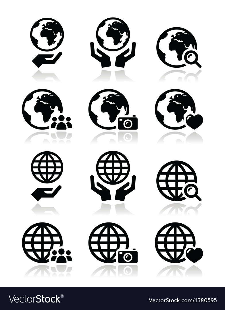 Globe earth with hands icons set with refle