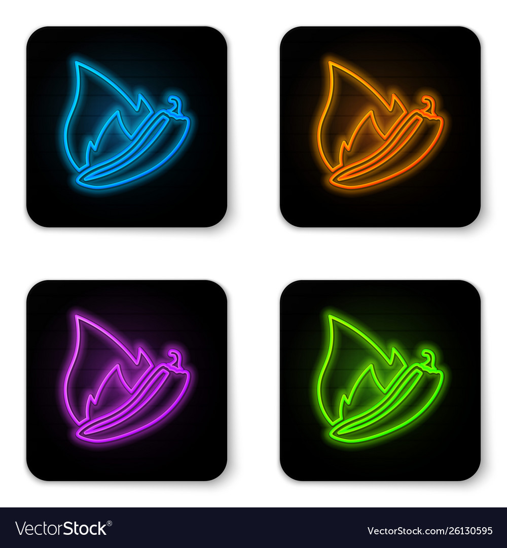 Glowing neon hot chili pepper pod icon isolated