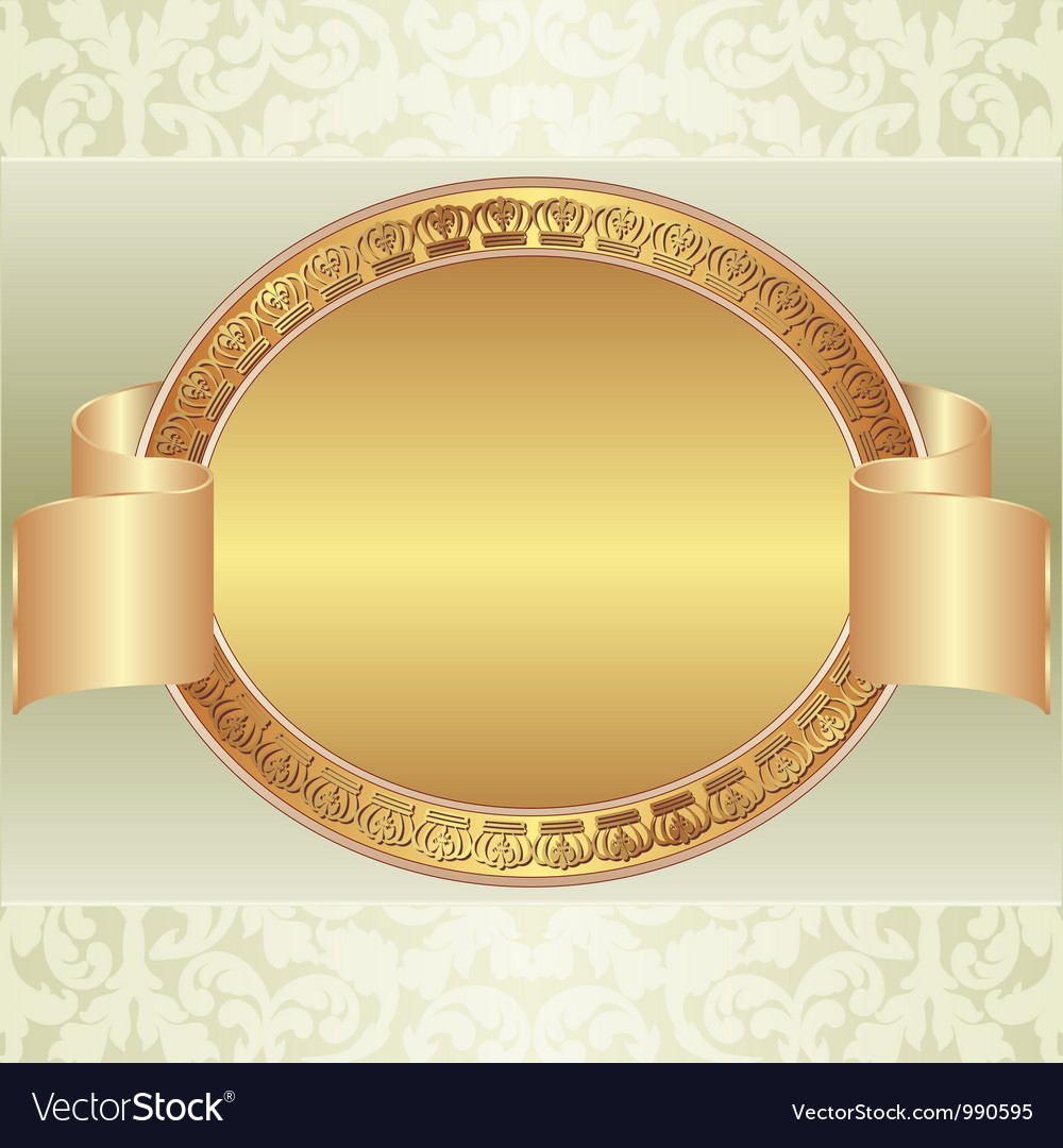 Gold Oval Frame Royalty Free Vector Image