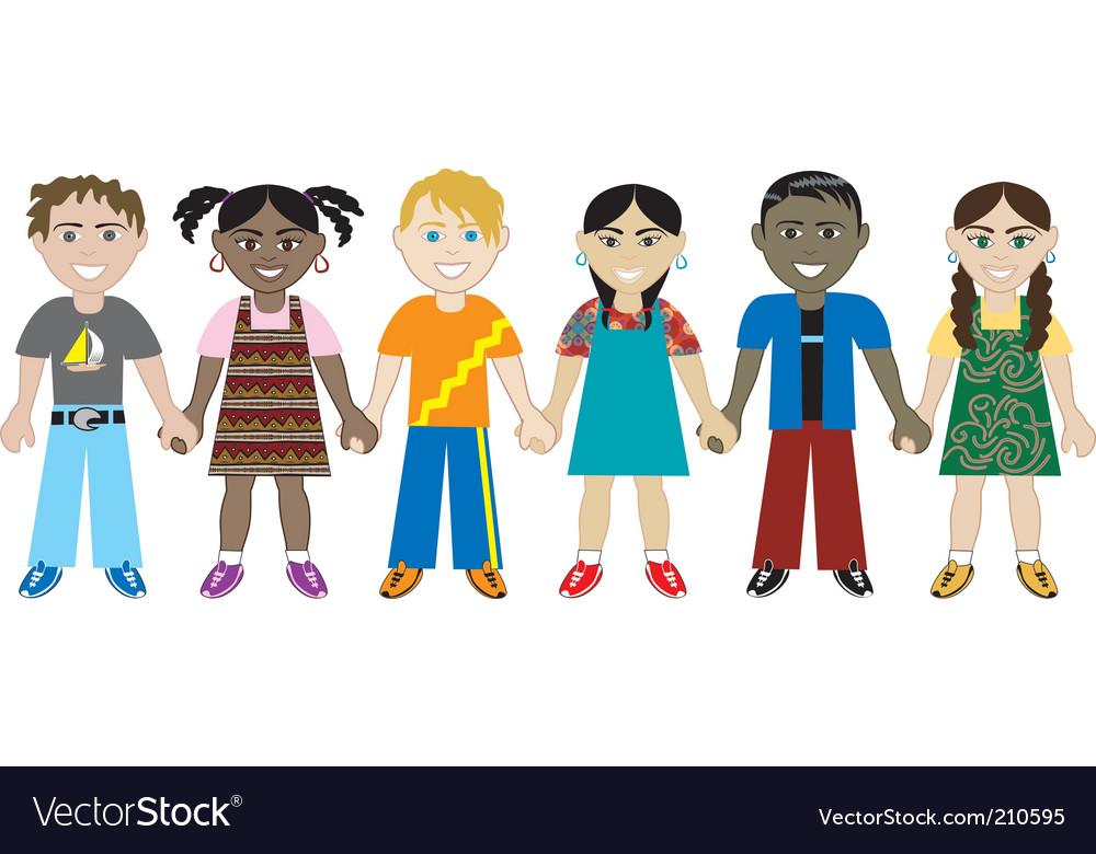 children holding hands vector. Kids Hold Hands Vector