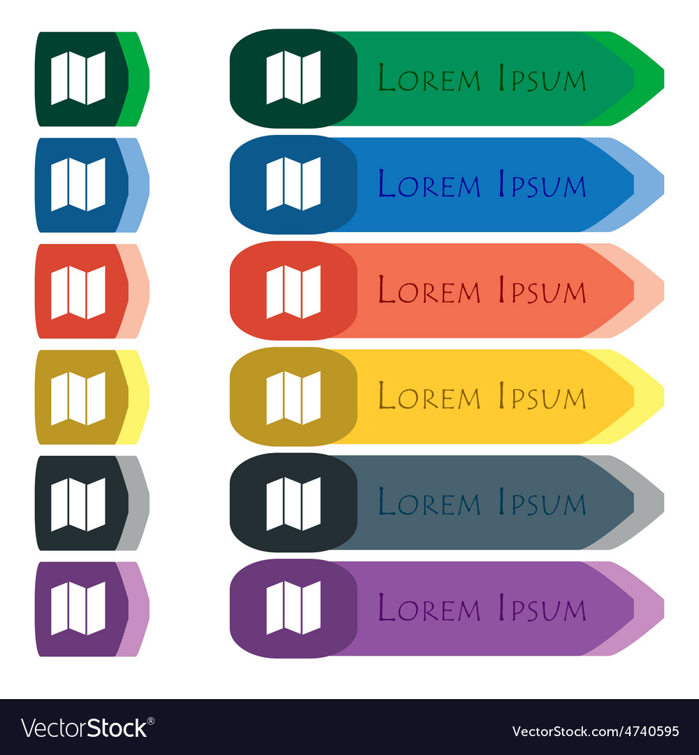 Map icon sign Set of colorful bright long buttons