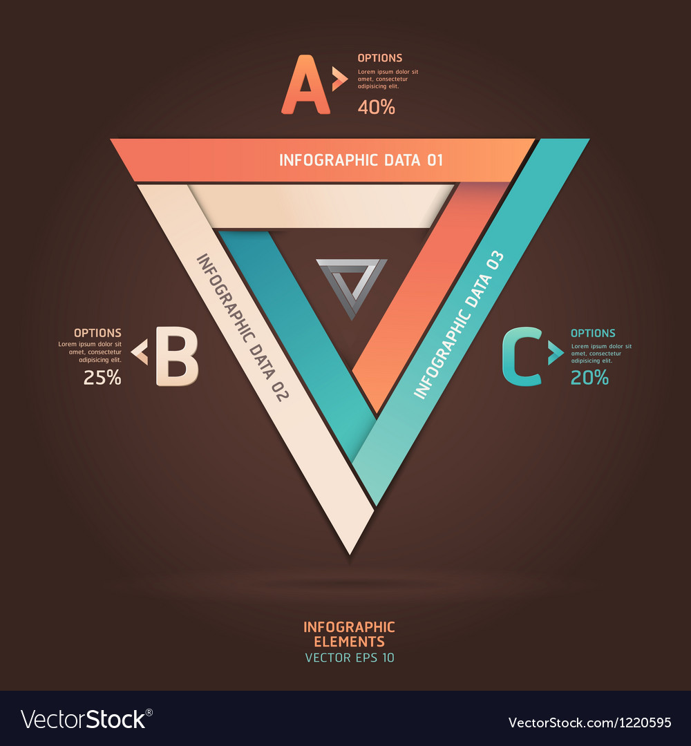 Modern infographic infinite triangle origami style vector image