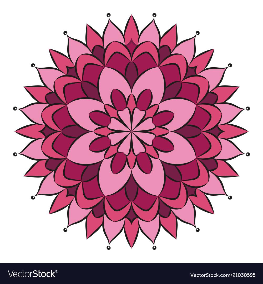 Pink colored circular round floral mandala vector image mightylinksfo