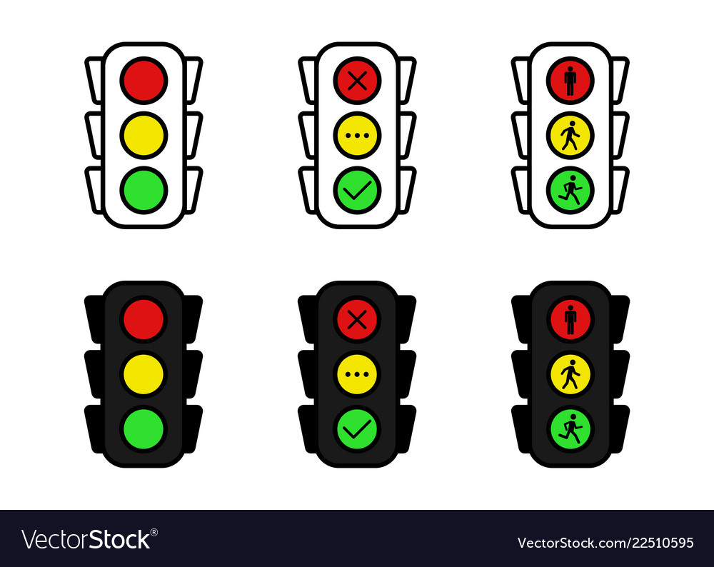 Set of traffic light in line and flat design on