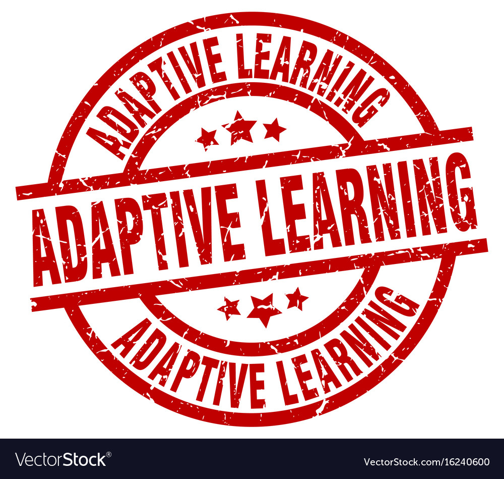 Adaptive learning round red grunge stamp