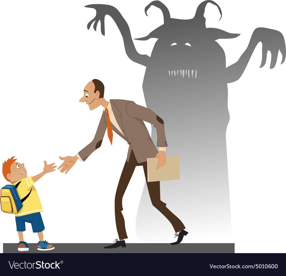 Afraid of the new teacher vector image
