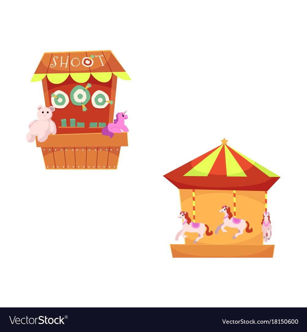Amusement park objects icon set