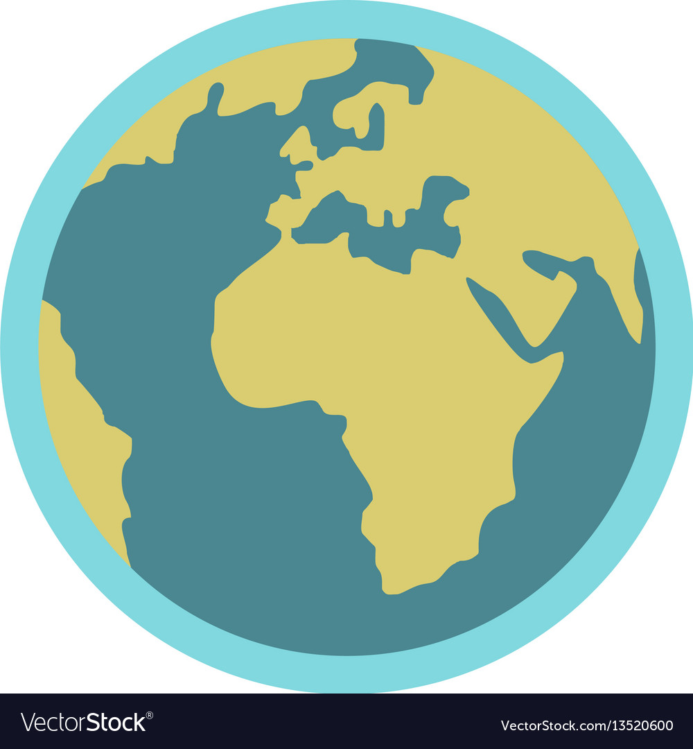 Blue planet earth icon flat style