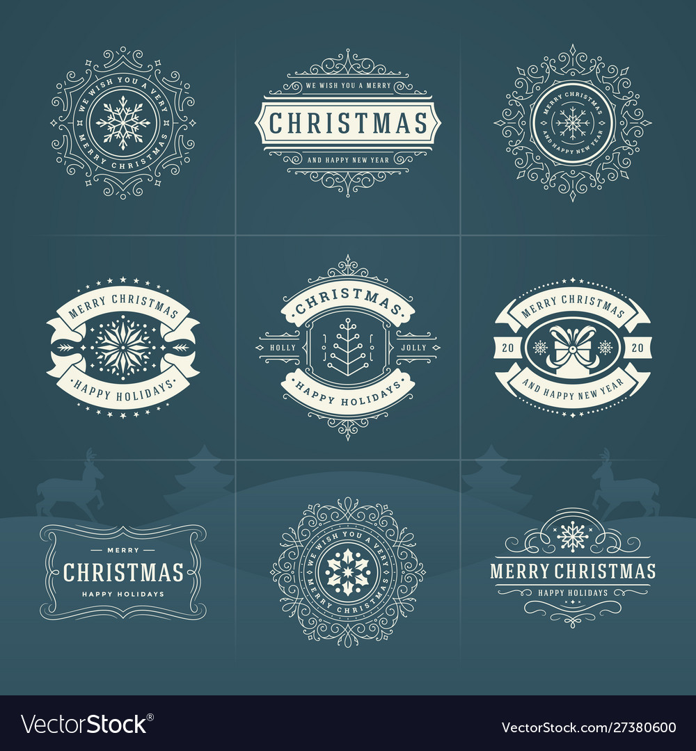 Christmas ornate labels and badges set