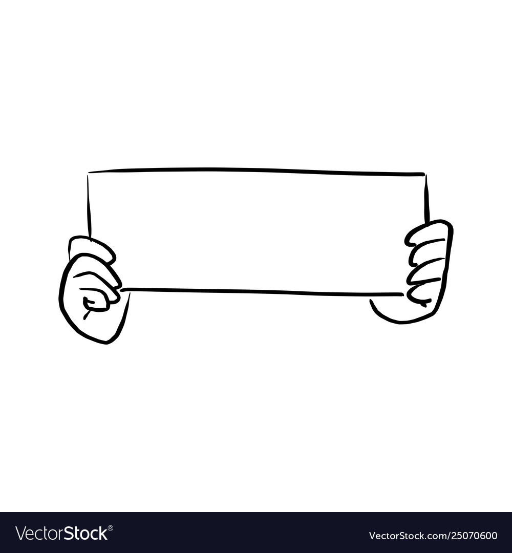 Hand holding blank paper sign