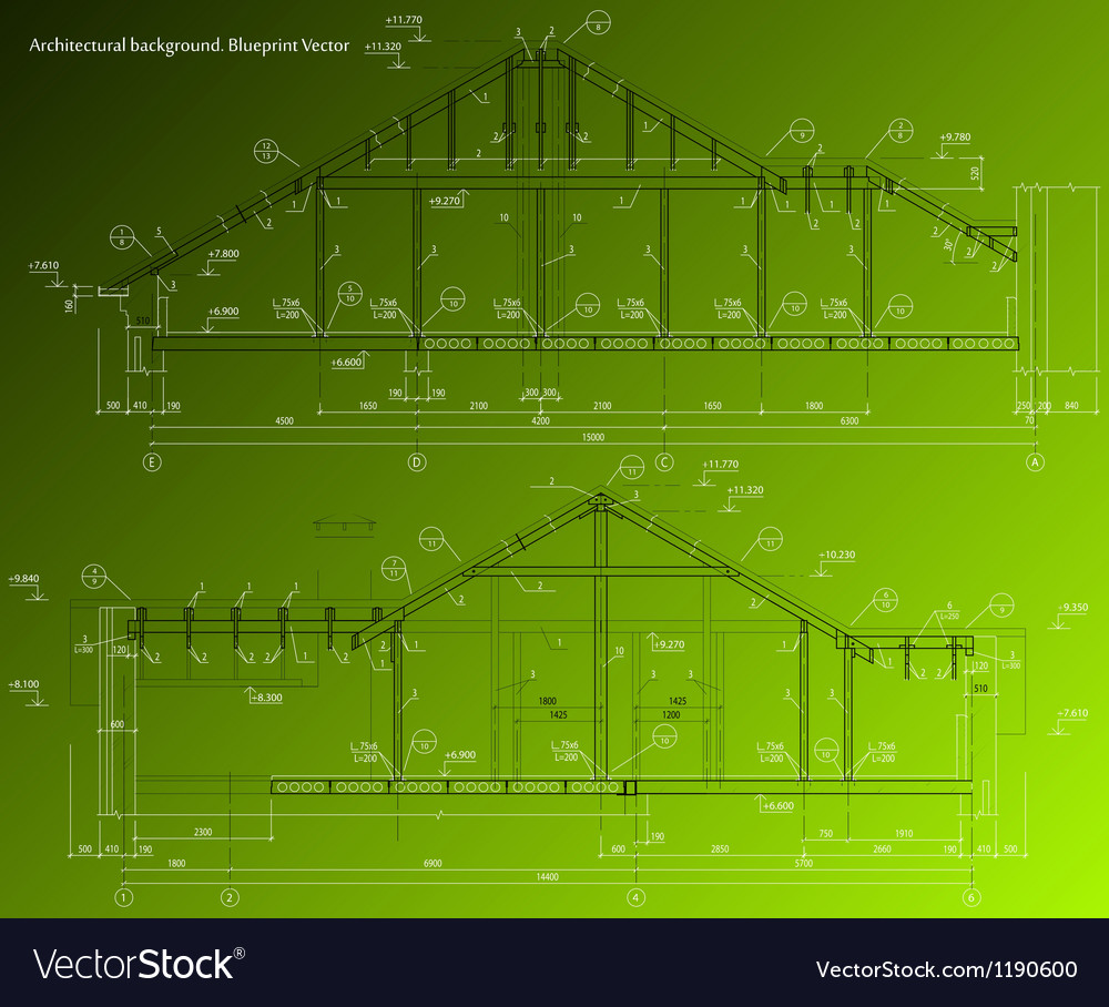 House facade on green background blueprint vector image malvernweather Images