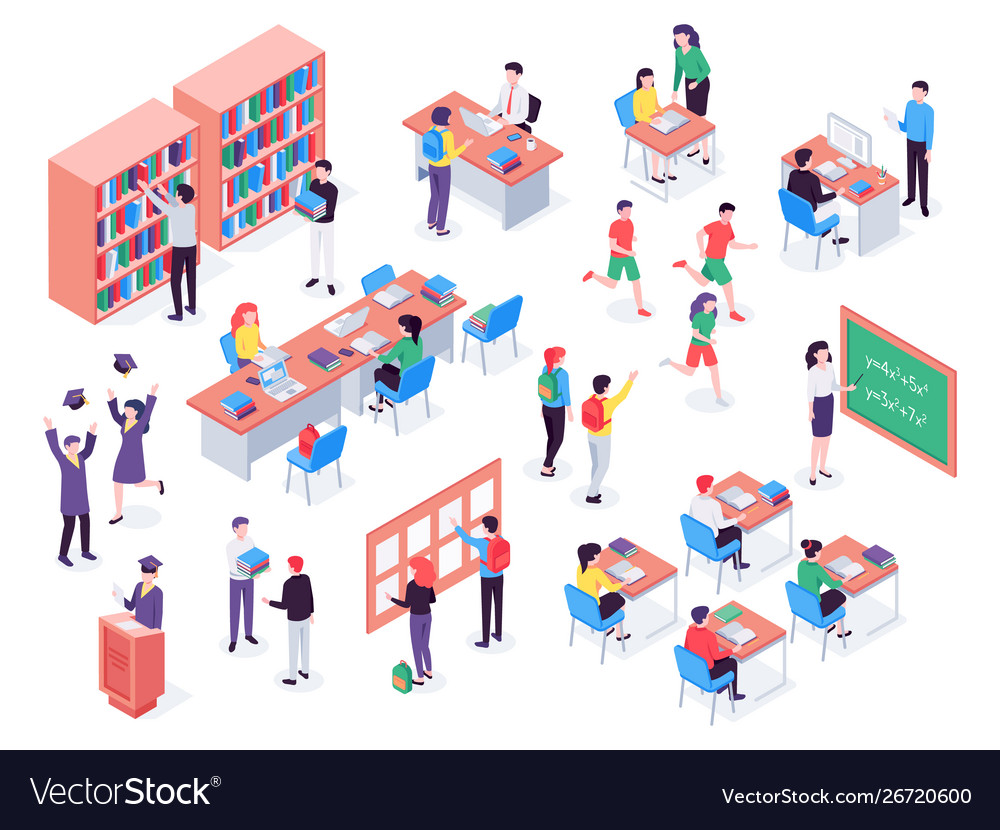 Isometric school childrens and teacher in
