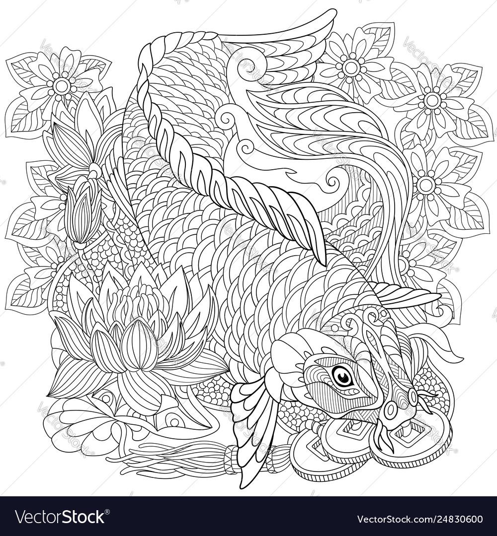 Koi carp adult coloring page
