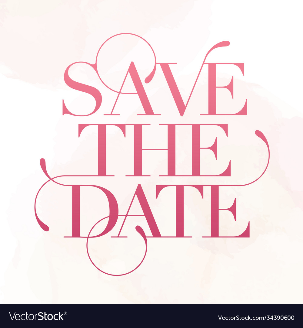 Save date wedding phrase brush lettering rose
