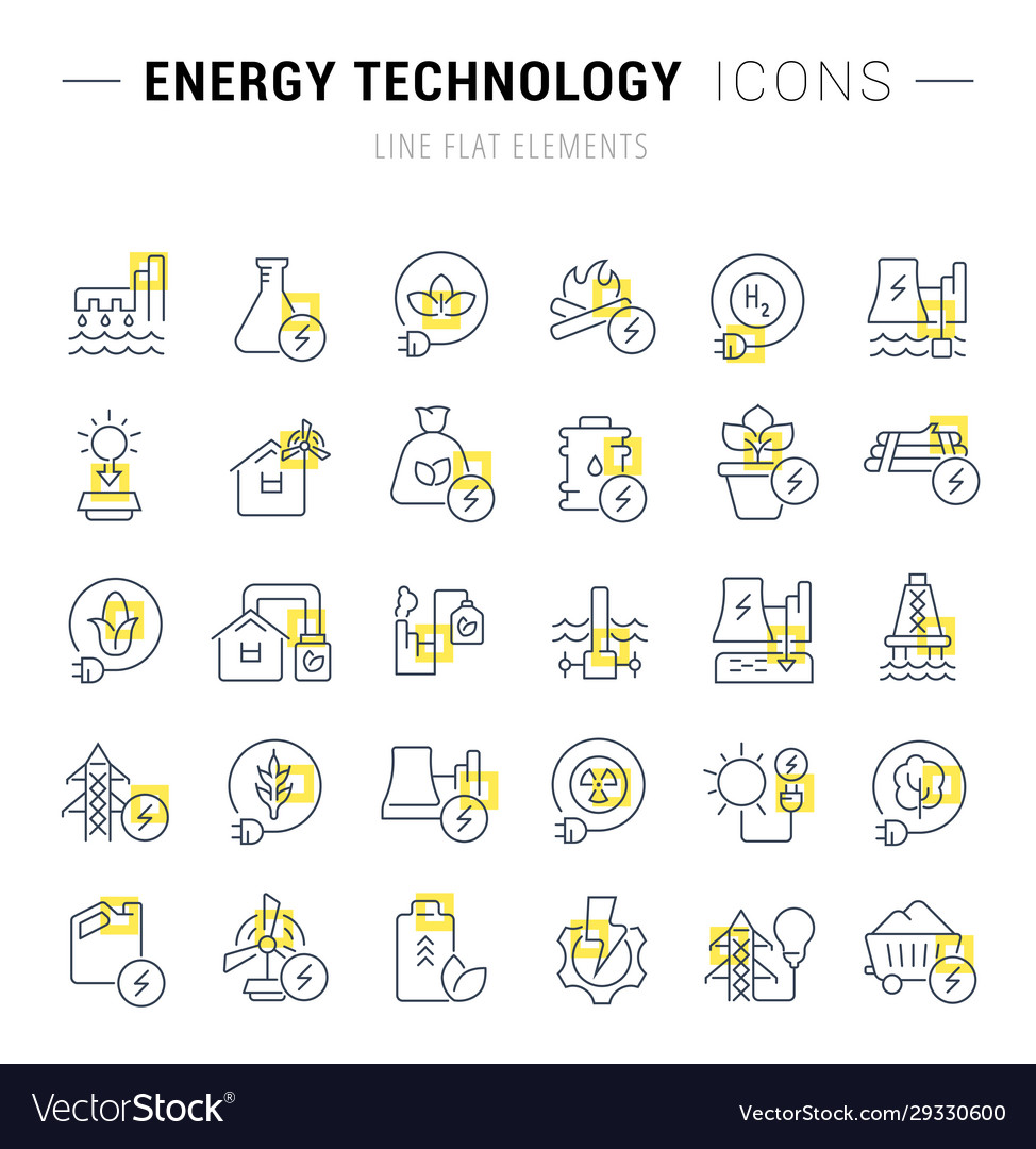 Set line icons energy technology vector