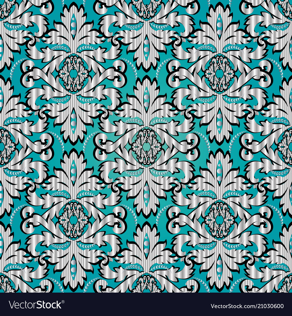 Vintage Damask Seamless Pattern Light Blue Floral Vector Image