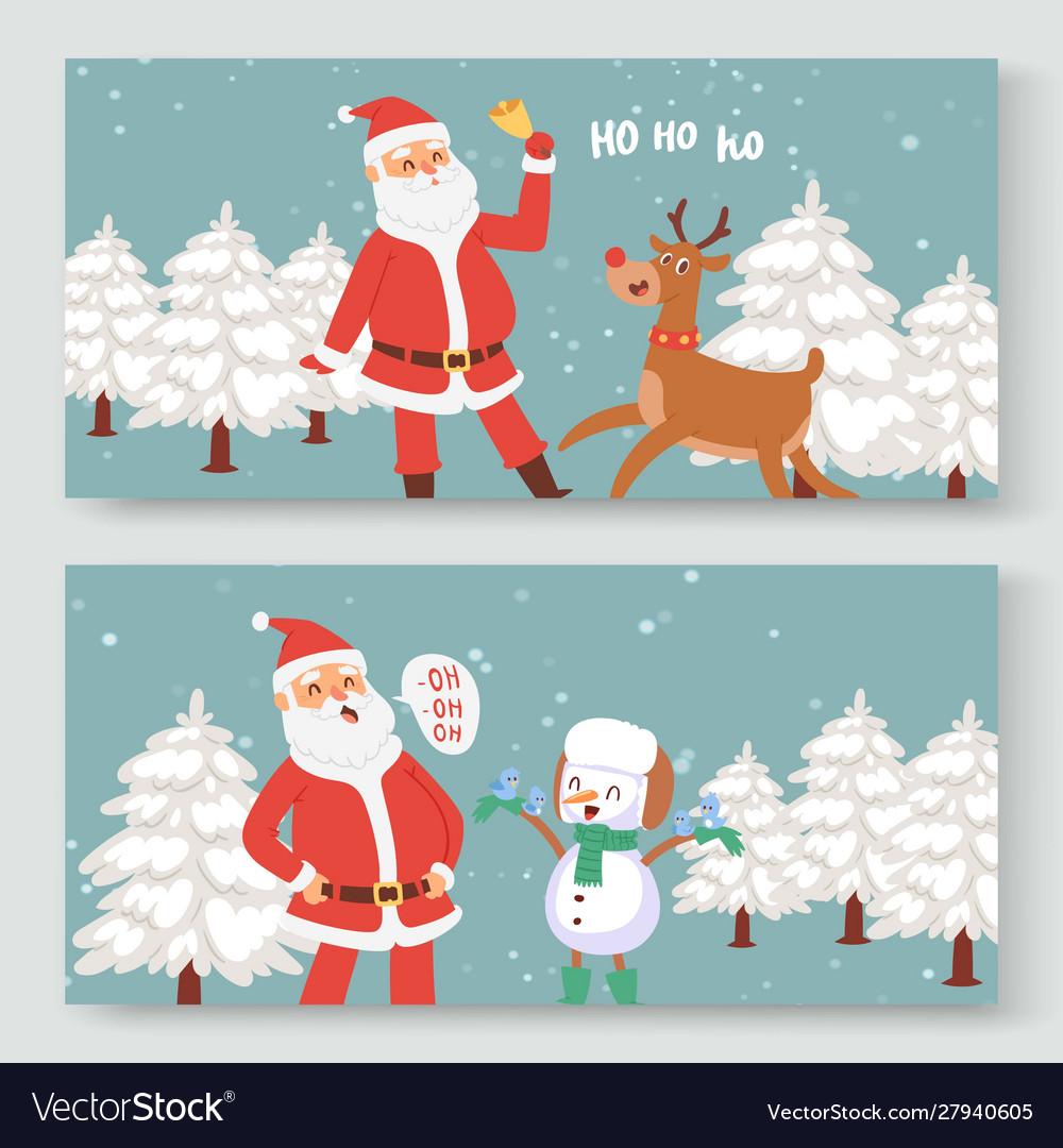Cartoon santa claus indeer and snowman