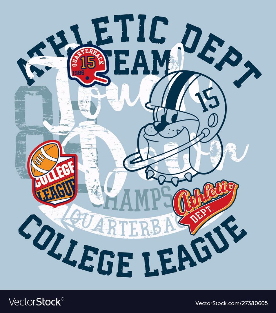 Cute bulldog american football college league