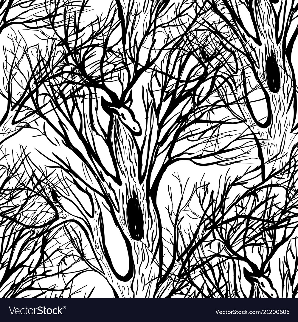Deer and tree silhouette vector image