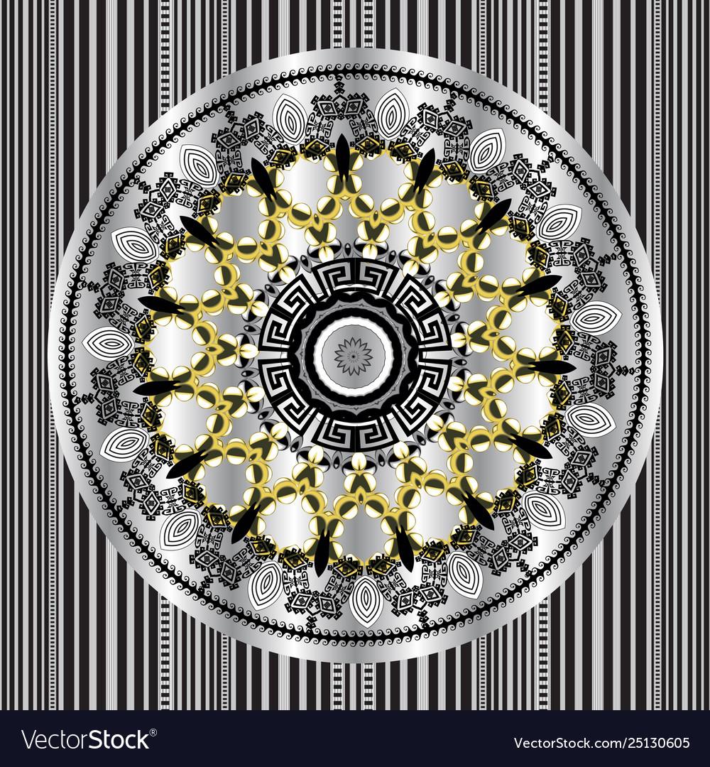 Floral round greek mandala seamless pattern