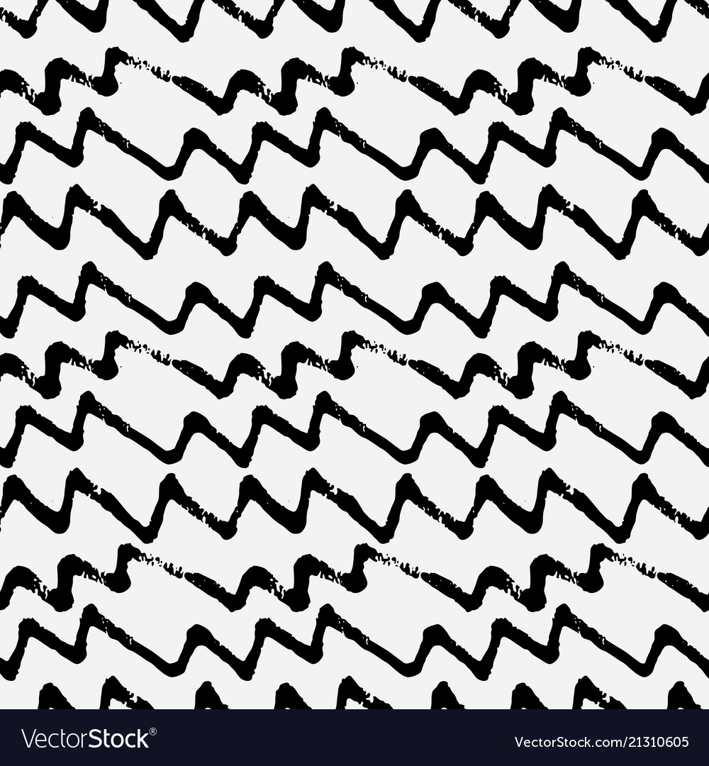 Hand drawn zig zag monochrome seamless pattern
