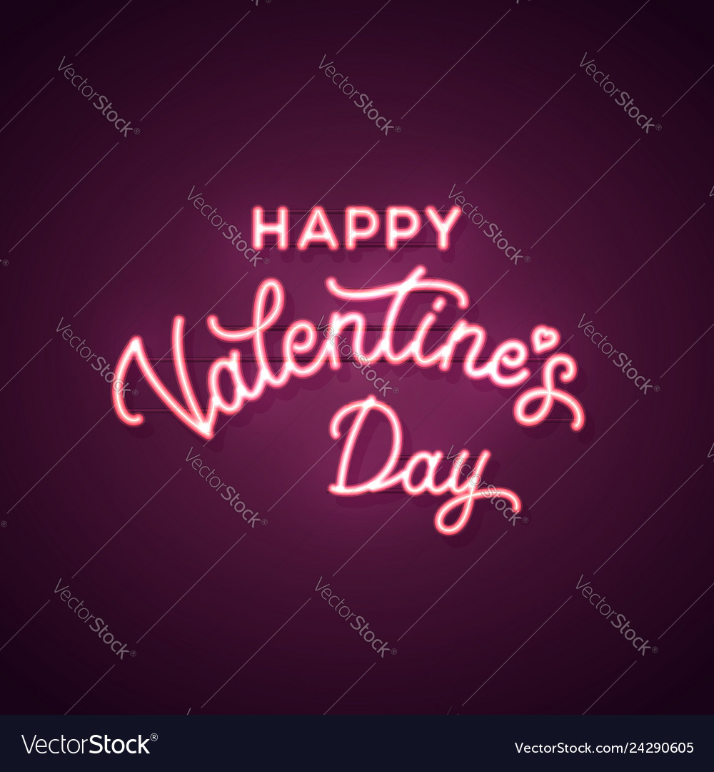 Happy valentines day text neon sign