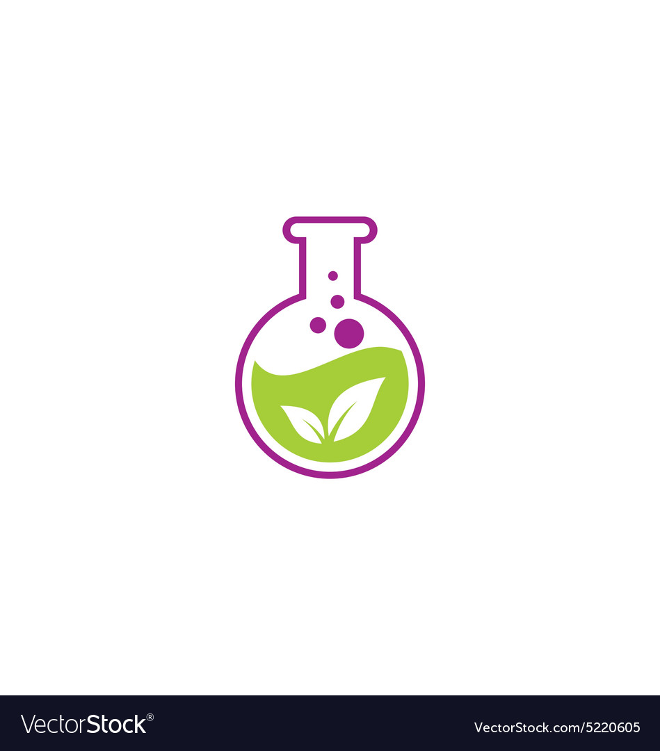 Herbal leaf extract chemical logo