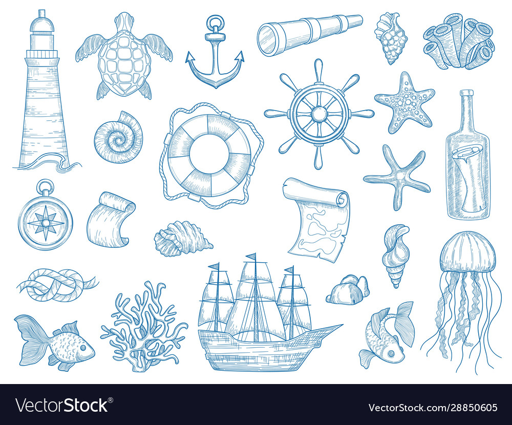 Nautical collection sailing boats hand drawn