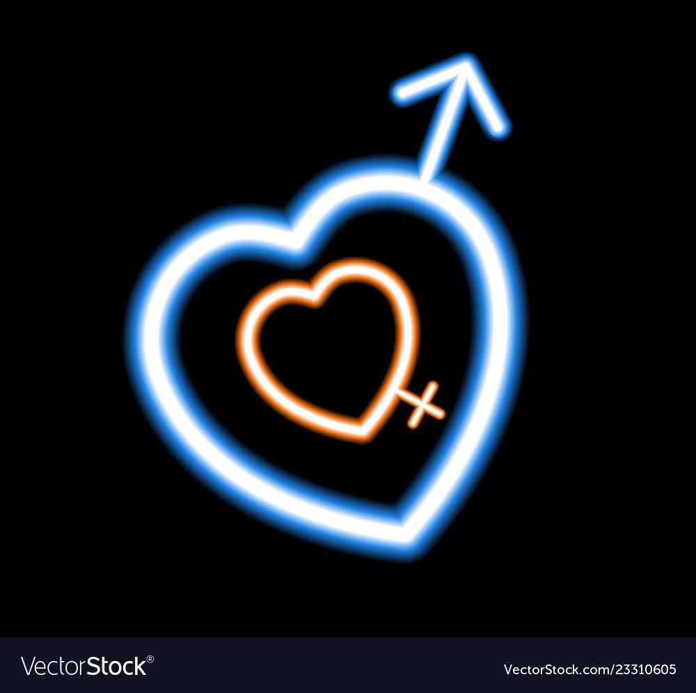 Neon Heart On A Dark Background
