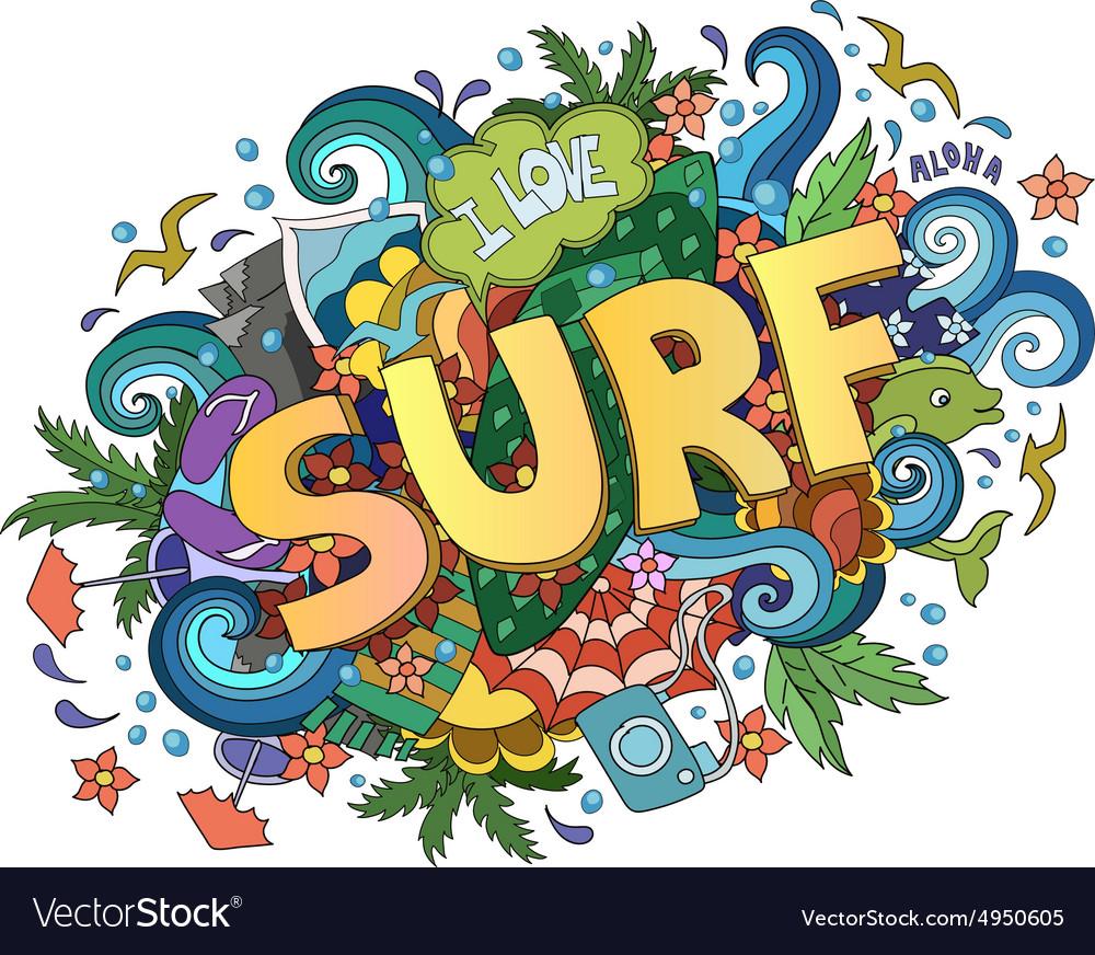 Surf lettering design hand-drawn t-shirt