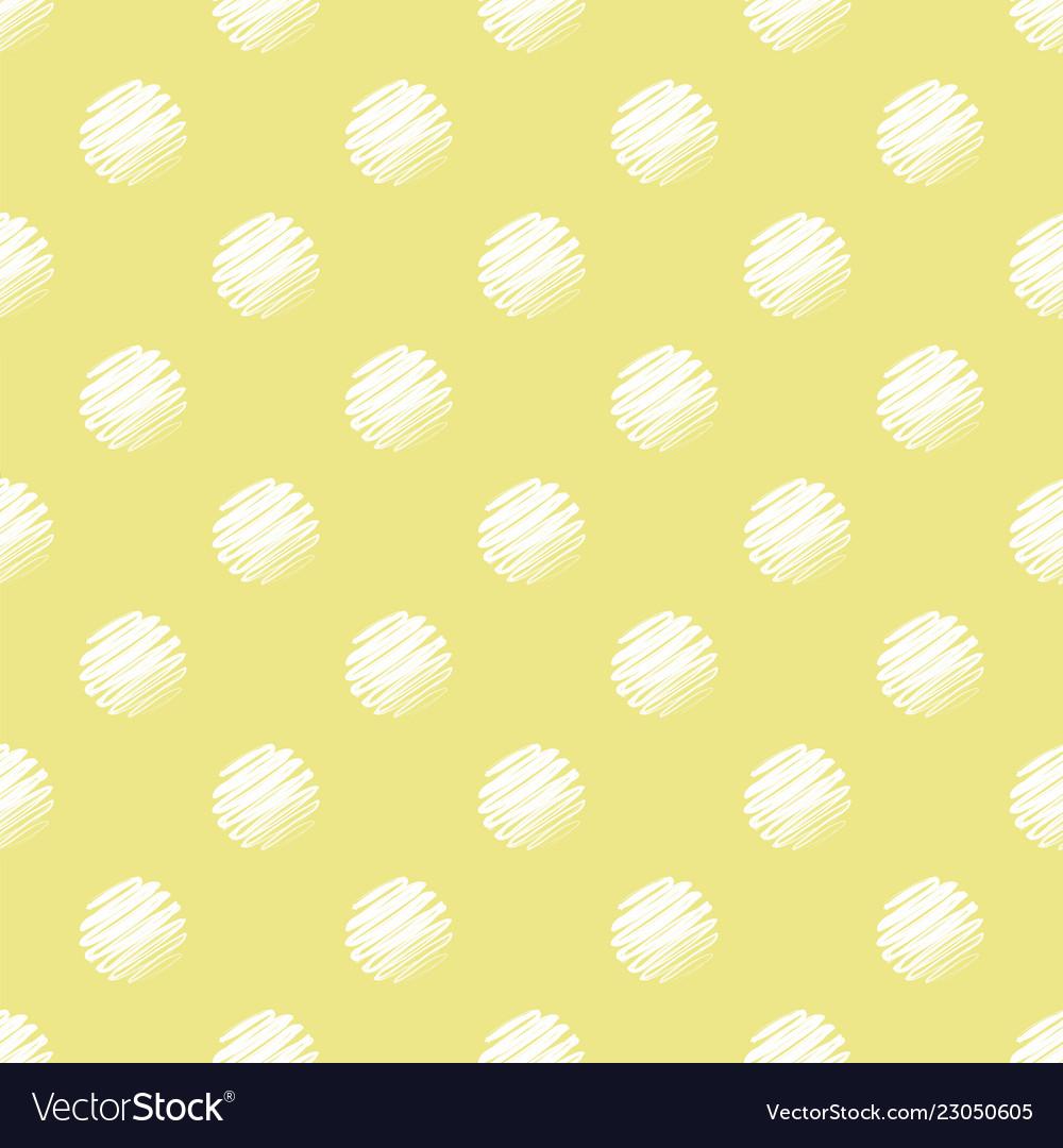 Yellow and white polka dot seamless pattern