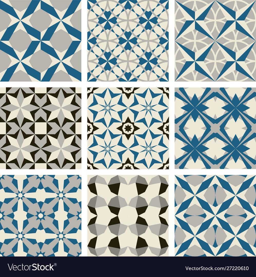 3 color tile pattern blue gray black