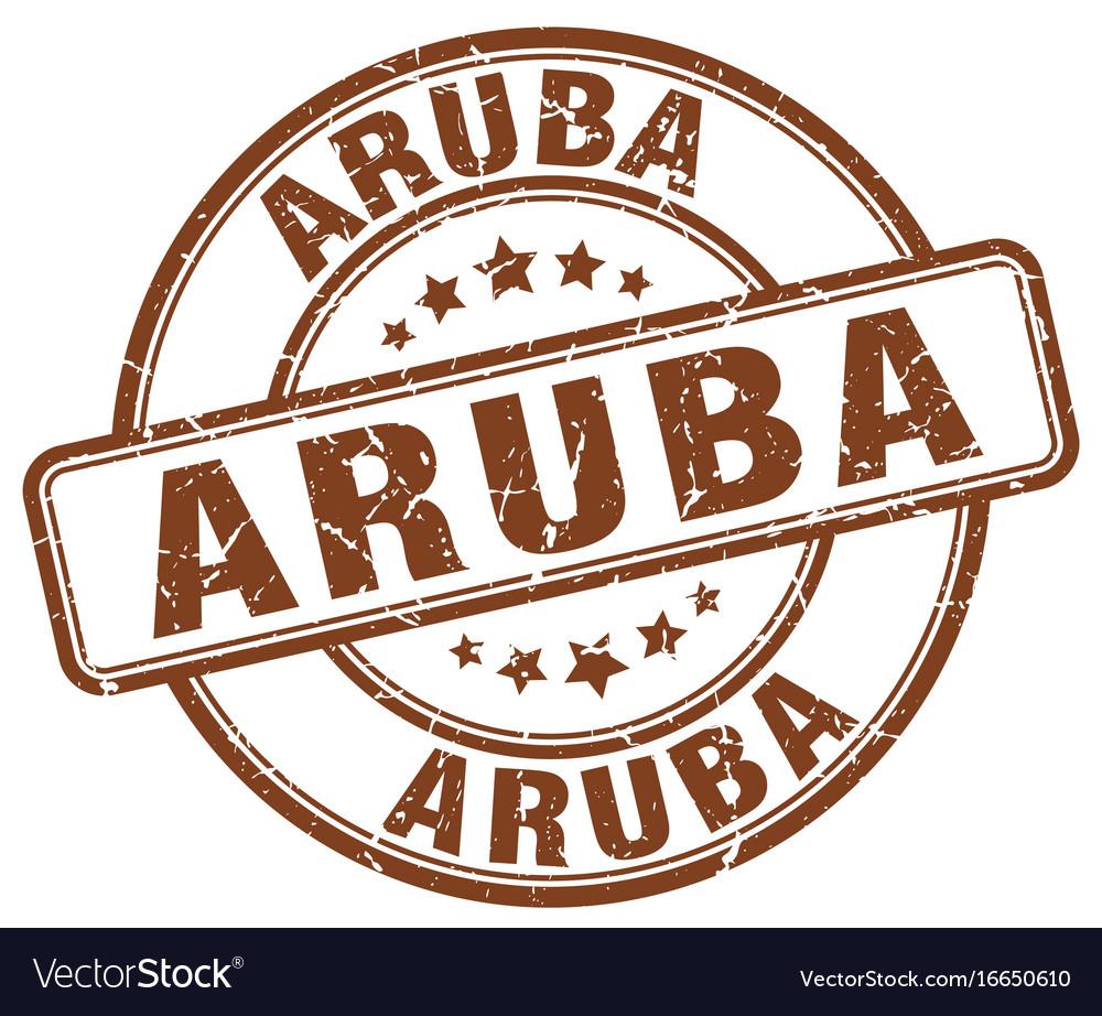 Aruba brown grunge round vintage rubber stamp