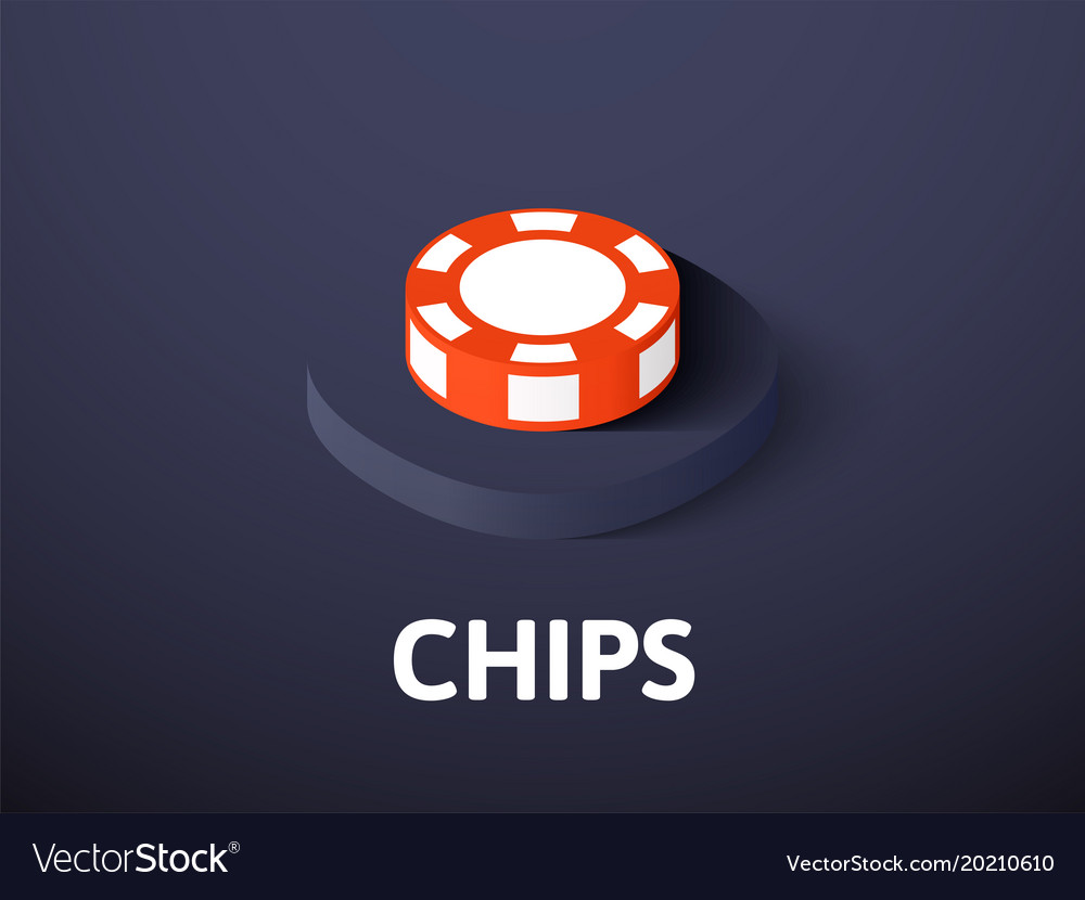 Chips isometric icon isolated on color background