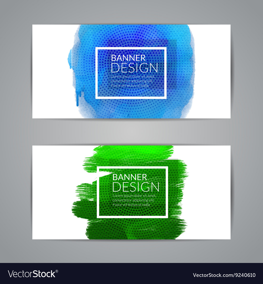 Colorful watercolor banners design elements