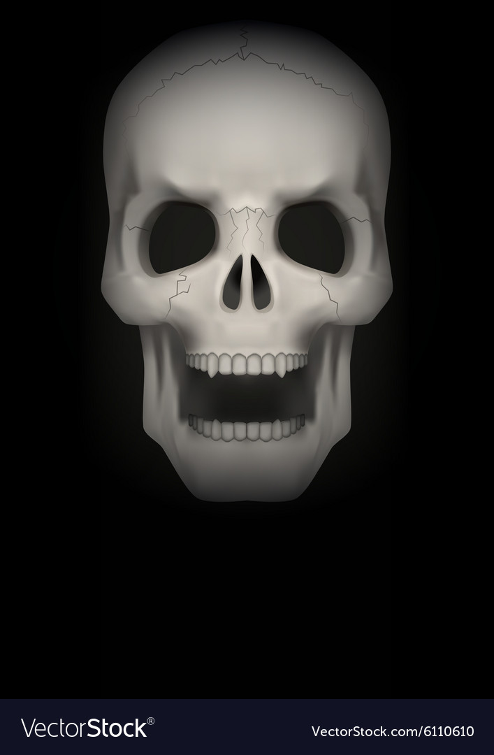 Dark Background of Human skull with open mouth