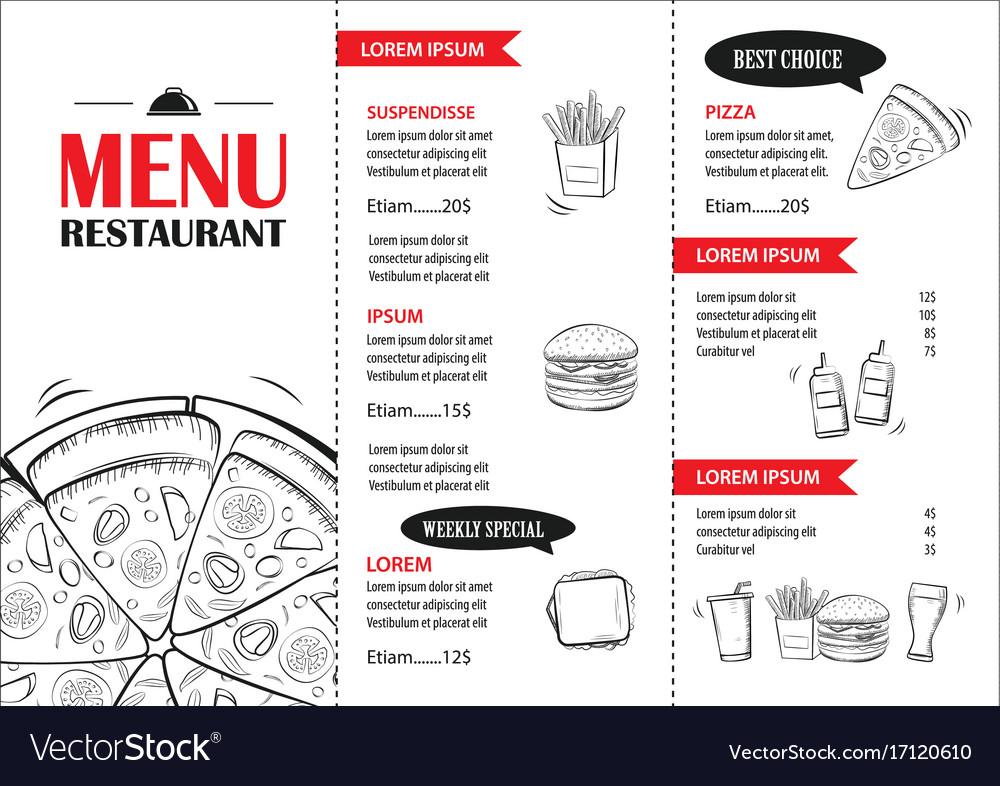 Fast food menu design template restaurant or cafe