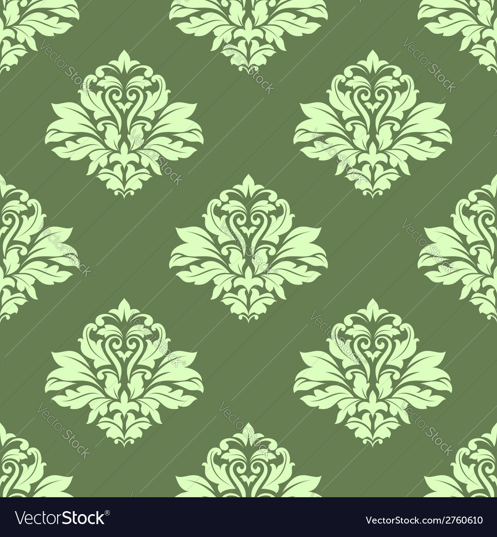 Floral seamless pattern with light green on dark