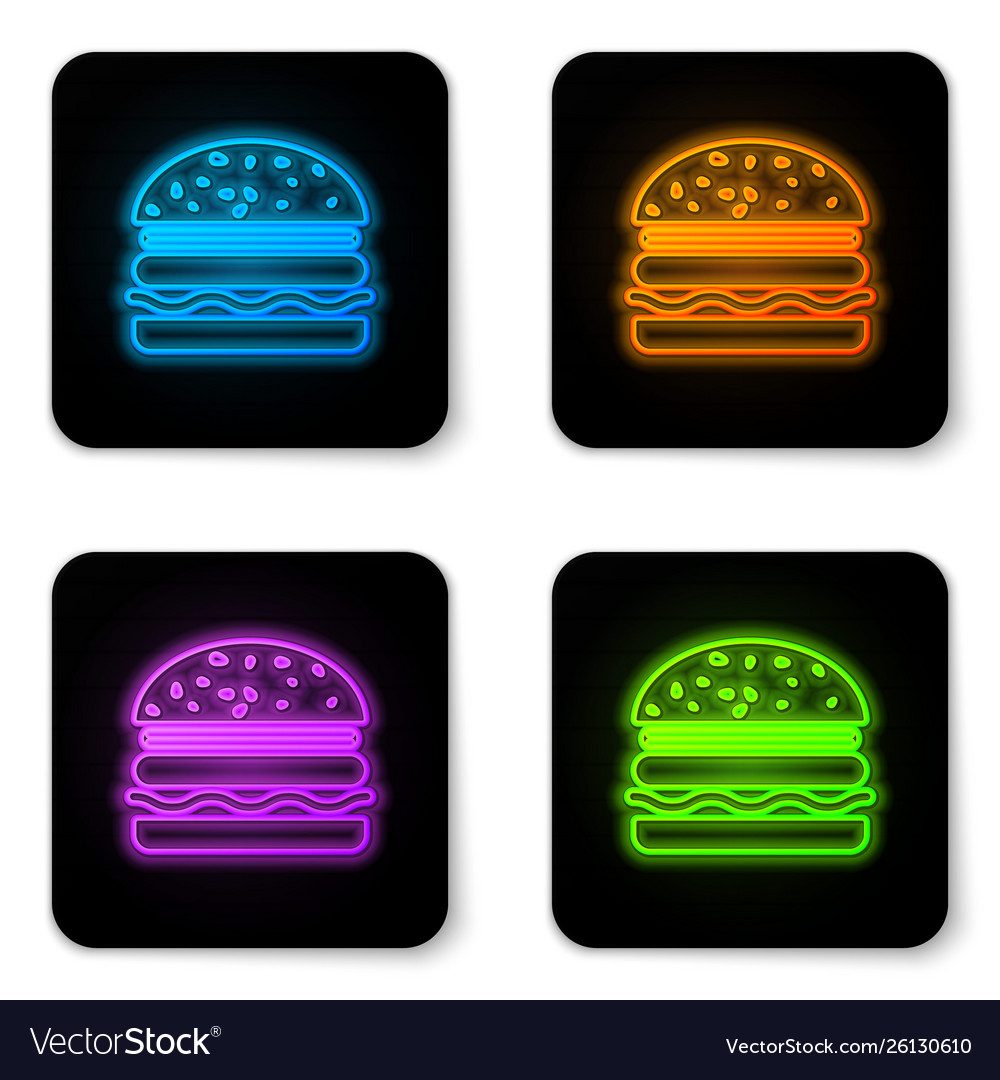 Glowing neon burger icon isolated on white
