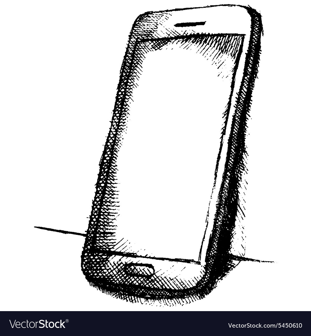 Handdrawn sketch of mobile phone with shadow